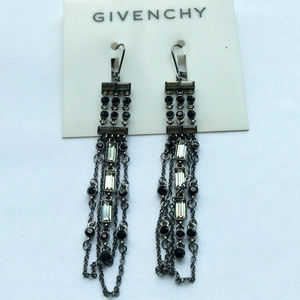 Crystal and chain leverback drop earrings